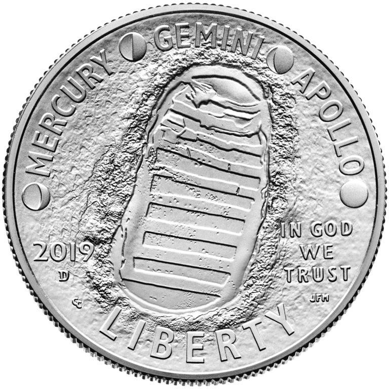 2019 Apollo 11 50th Anniversary Commemorative Clad Uncirculated Half Dollar Obverse