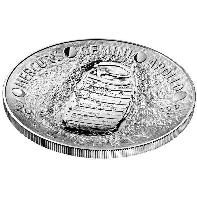 2019 Apollo 11 50th Anniversary Commemorative Five Ounce Proof Silver Dollar Obverse Angle