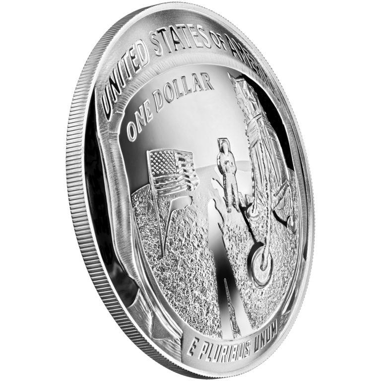 2019 Apollo 11 50th Anniversary Commemorative Five Ounce Proof Silver Dollar Reverse Angle