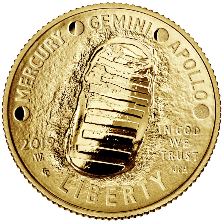 2019 Apollo 11 50th Anniversary Commemorative Gold Proof Five Dollar Obverse
