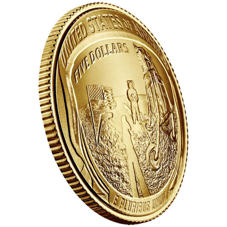 2019 Apollo 11 50th Anniversary Commemorative Gold Uncirculated Five Dollar Reverse Angle