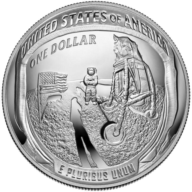 2019 Apollo 11 50th Anniversary Commemorative Silver Proof One Dollar Coin Reverse