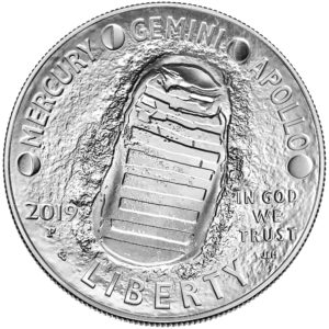 2019 Apollo 11 50th Anniversary Commemorative Silver Uncirculated One Dollar Coin Obverse