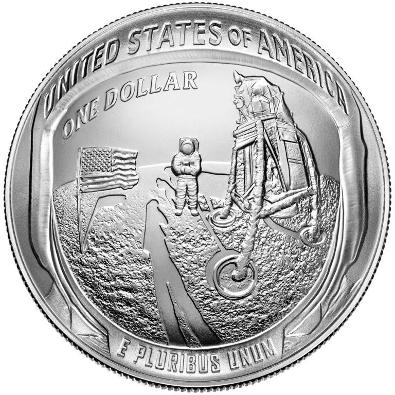 2019 Apollo 11 50th Anniversary Commemorative Silver Uncirculated One Dollar Coin Reverse