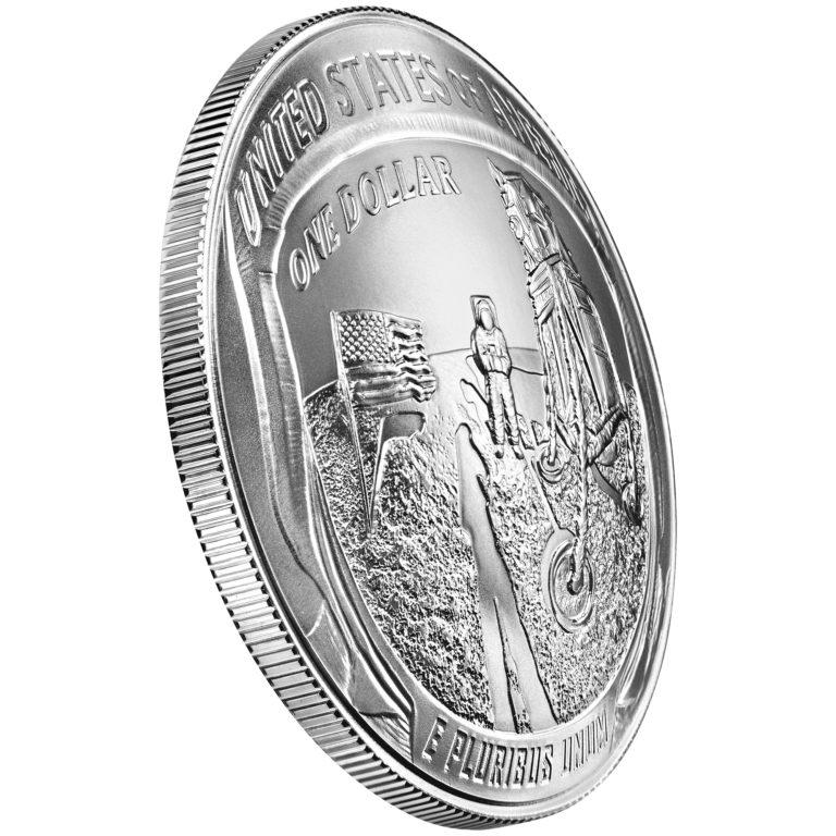 2019 Apollo 11 50th Anniversary Commemorative Silver Uncirculated One Dollar Coin Reverse Angle