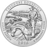 2016 America the Beautiful Quarters Five Ounce Silver Bullion Coin Theodore Roosevelt North Dakota Reverse
