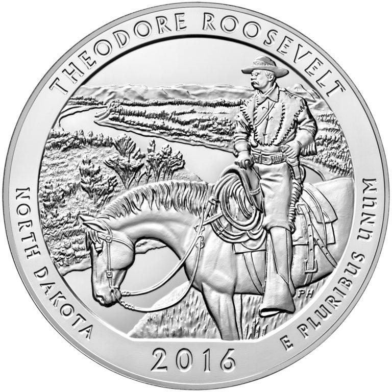 2016 America the Beautiful Quarters Five Ounce Silver Bullion Coin Theodore Roosevelt North Dakota Reverse