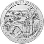 2016 America the Beautiful Quarters Five Ounce Silver Uncirculated Coin Theodore Roosevelt North Dakota Reverse