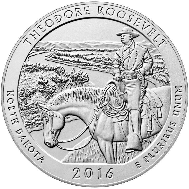 2016 America the Beautiful Quarters Five Ounce Silver Uncirculated Coin Theodore Roosevelt North Dakota Reverse