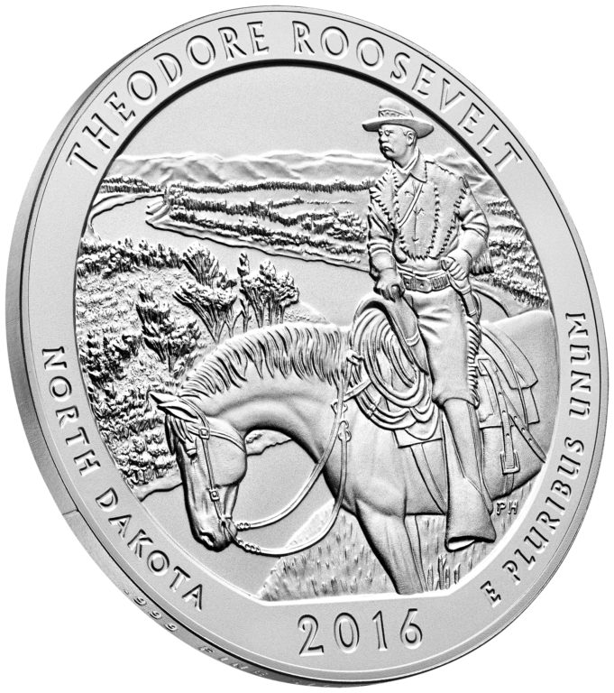 2016 America the Beautiful Quarters Five Ounce Silver Uncirculated Coin Theodore Roosevelt North Dakota Reverse Angle