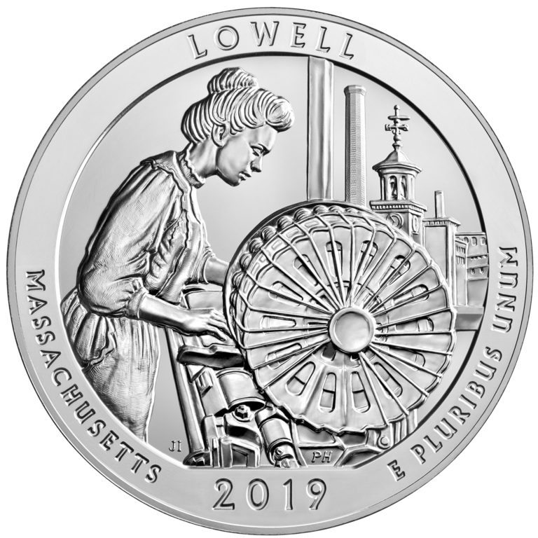 2019 America the Beautiful Quarters Five Ounce Silver Bullion Coin Lowell Massachusetts Reverse