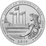 2019 America the Beautiful Quarters Five Ounce Silver Uncirculated Coin American Memorial Park Northern Mariana Islands Reverse