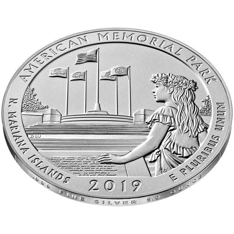 2019 America the Beautiful Quarters Five Ounce Silver Uncirculated Coin American Memorial Park Northern Mariana Islands Reverse Angle