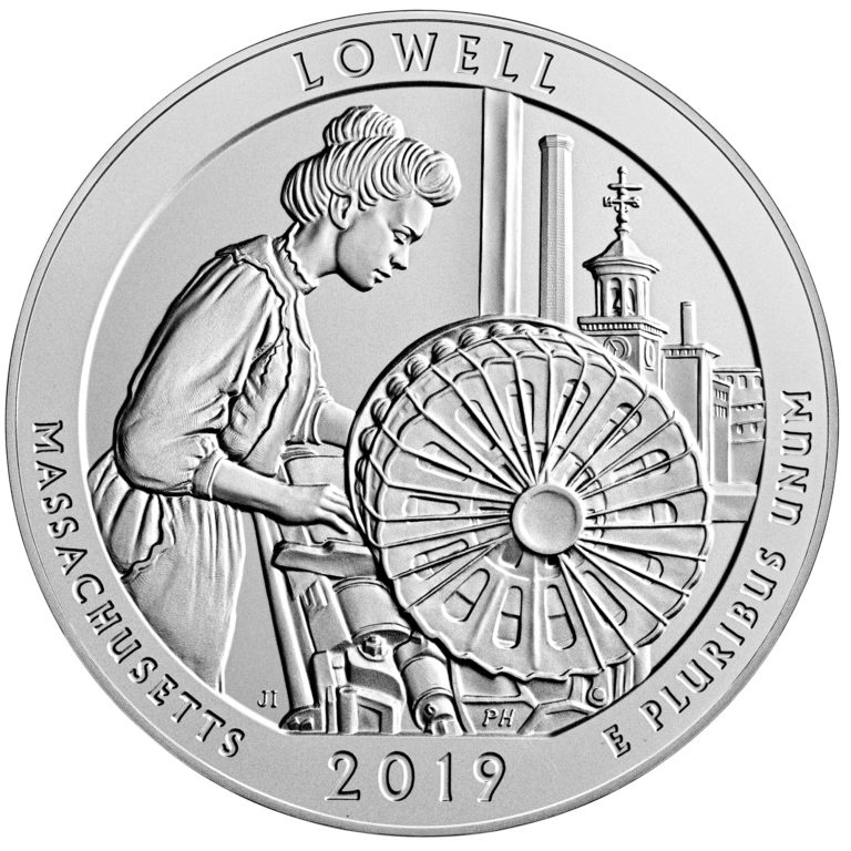 2019 America the Beautiful Quarters Five Ounce Silver Uncirculated Coin Lowell Massachusetts Reverse