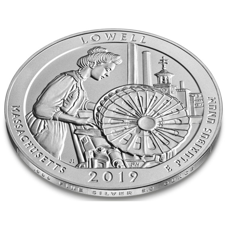2019 America the Beautiful Quarters Five Ounce Silver Uncirculated Coin Lowell Massachusetts Reverse Angle