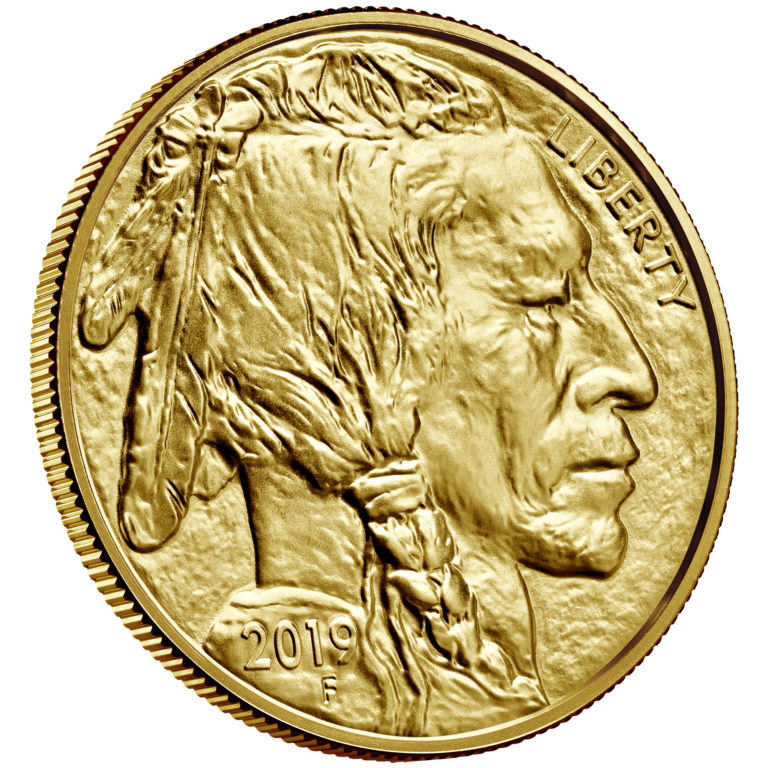 2019 American Buffalo Gold One Ounce Bullion Coin Obverse Angle
