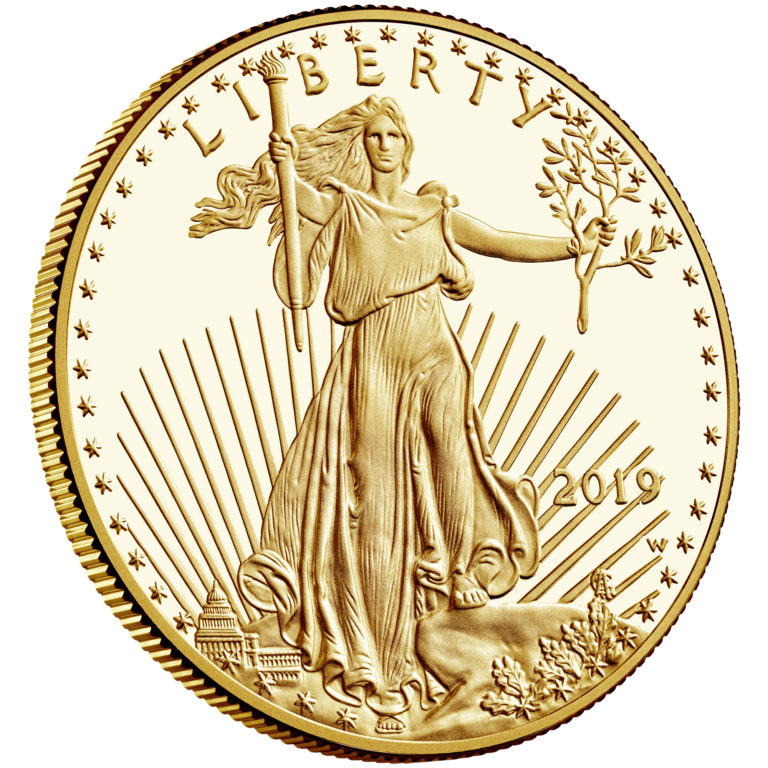 2019 American Eagle Gold One Ounce Proof Coin Obverse Angle