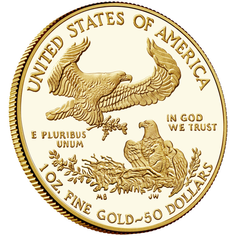 2019 American Eagle Gold One Ounce Proof Coin Reverse Angle