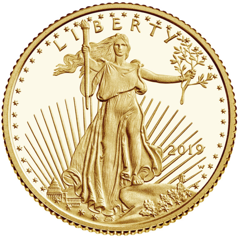 2019 American Eagle Gold Tenth Ounce Proof Coin Obverse