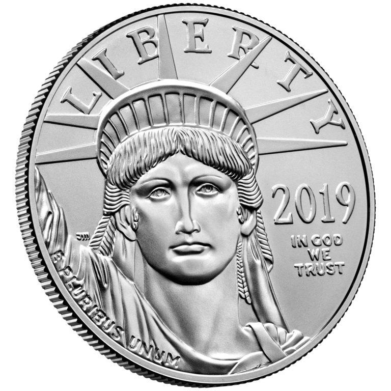 2019 American Eagle Platinum One Ounce Bullion Coin Obverse Angle