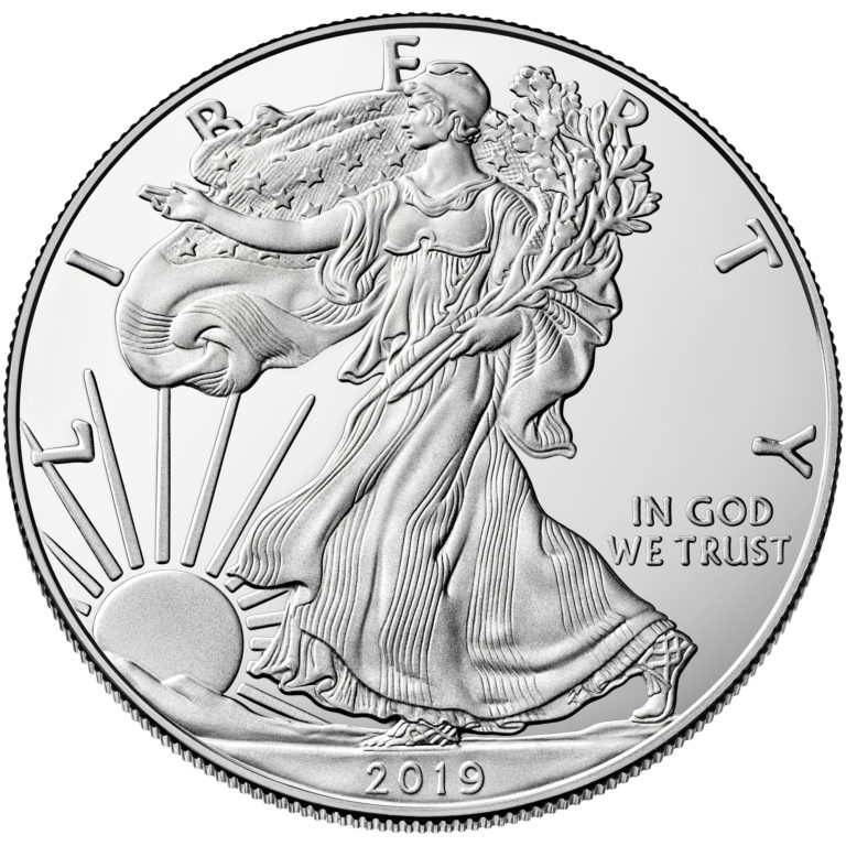 2019 American Eagle Silver One Ounce Proof Coin Obverse