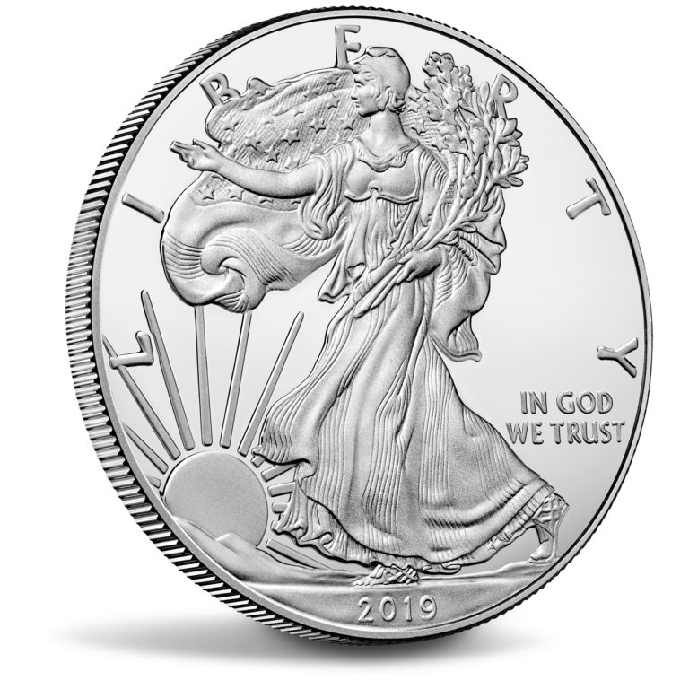 2019 American Eagle Silver One Ounce Proof Coin Obverse Angle