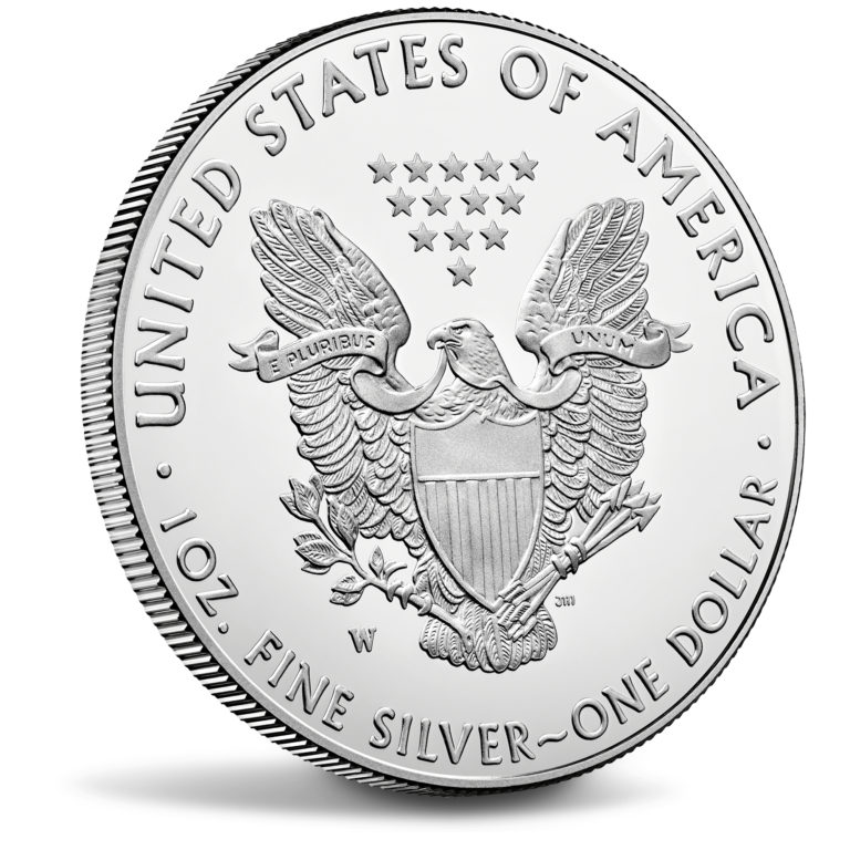 2019 American Eagle Silver One Ounce Proof Coin Reverse Angle