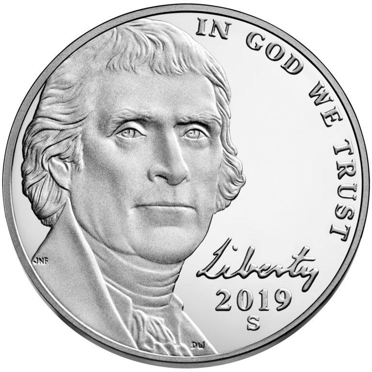 2019 Jefferson Nickel Proof Obverse San Francisco