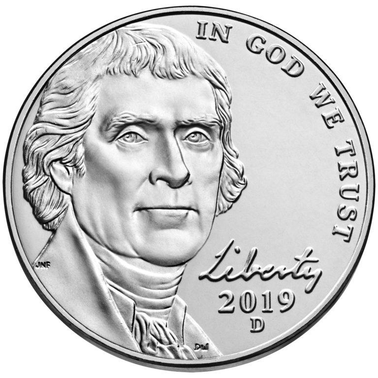 2019 Jefferson Nickel Uncirculated Obverse Denver