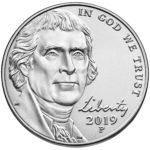2019 Jefferson Nickel Uncirculated Obverse Philadelphia