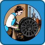 Textile Tales game icon; cartoon of woman next to a power loom