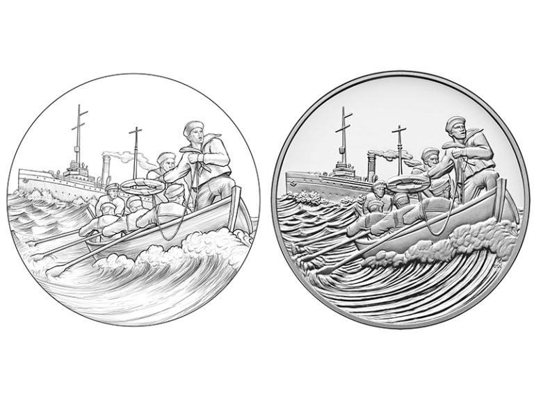 2018 World War I Centennial Coast Guard Medal obverse design and sculpt