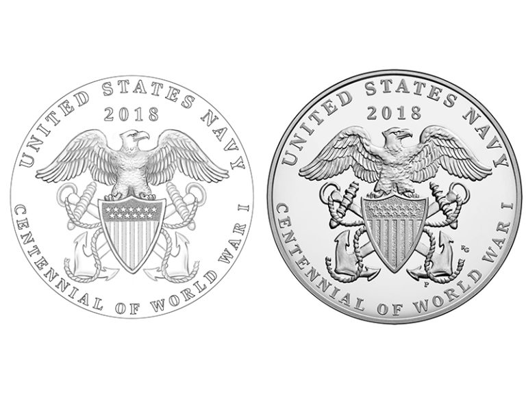2018 World War I Centennial Navy Medal reverse design and sculpt