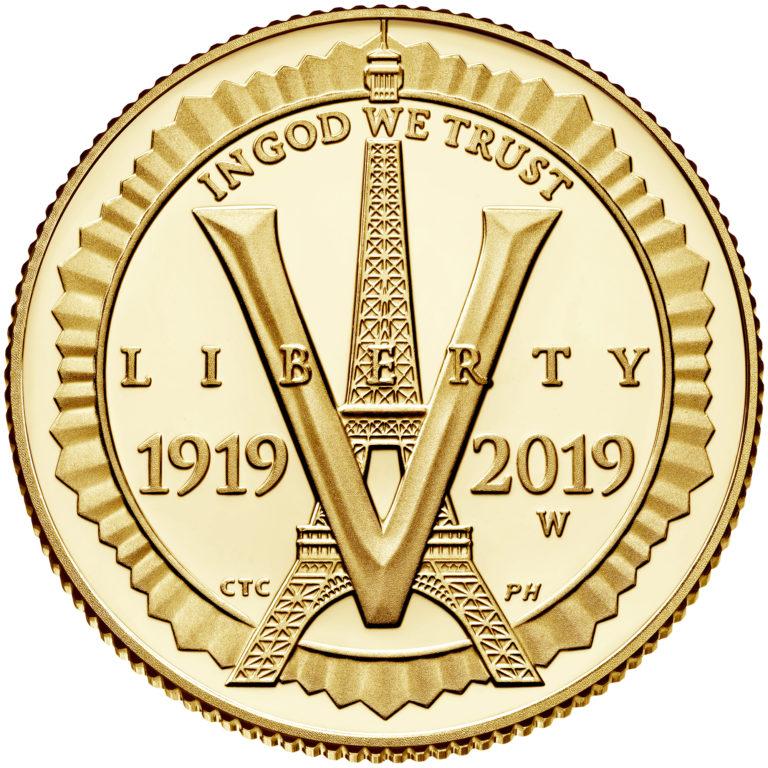 2019 American Legion 100th Anniversary Commemorative Gold Proof Five Dollar Obverse