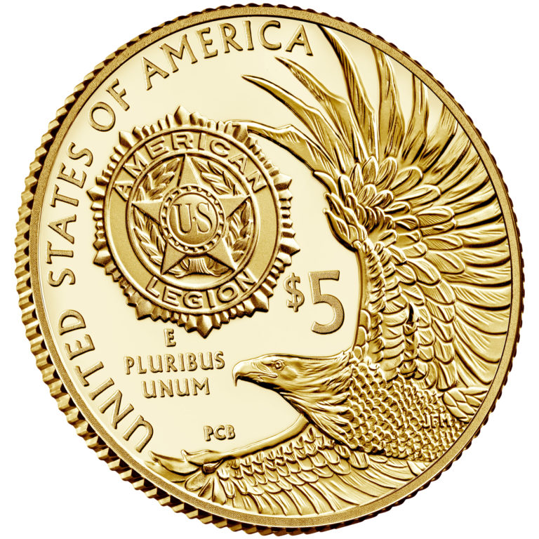 2019 American Legion 100th Anniversary Commemorative Gold Proof Five Dollar Reverse Angle