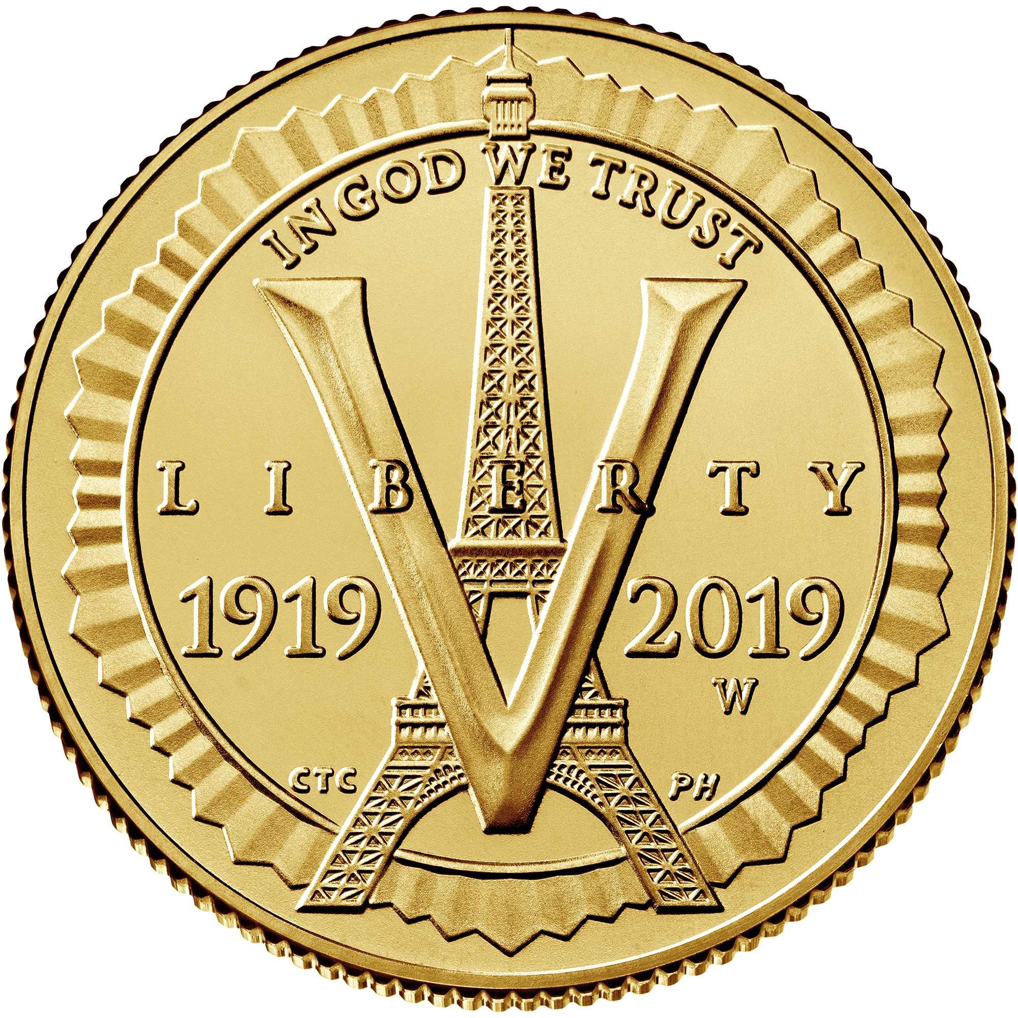 2019 American Legion 100th Anniversary Commemorative Gold Uncirculated Five Dollar Obverse