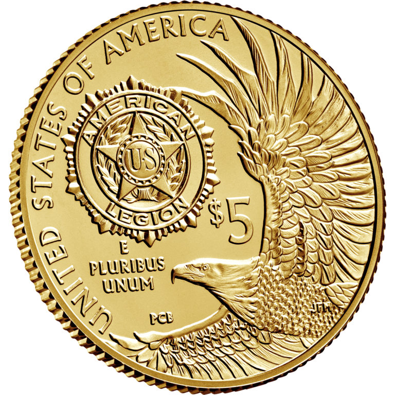 2019 American Legion 100th Anniversary Commemorative Gold Uncirculated Five Dollar Reverse Angle