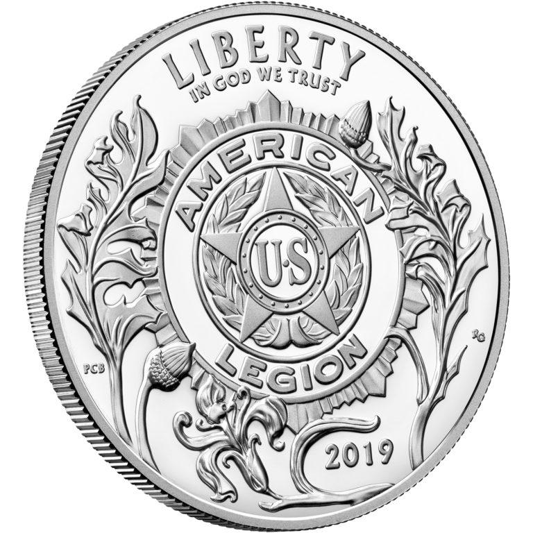 2019 American Legion 100th Anniversary Commemorative Silver Proof One Dollar Obverse Angle