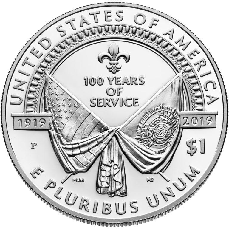 2019 American Legion 100th Anniversary Commemorative Silver Proof One Dollar Reverse