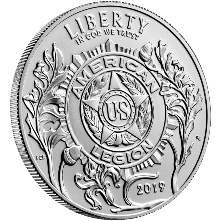 2019 American Legion 100th Anniversary Commemorative Silver Uncirculated One Dollar Obverse Angle