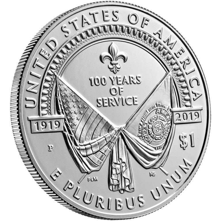 2019 American Legion 100th Anniversary Commemorative Silver Uncirculated One Dollar Reverse Angle