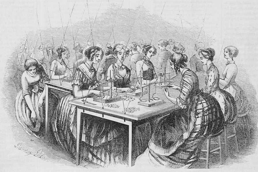 Drawing of women sitting around two tables weighing coins on scales.