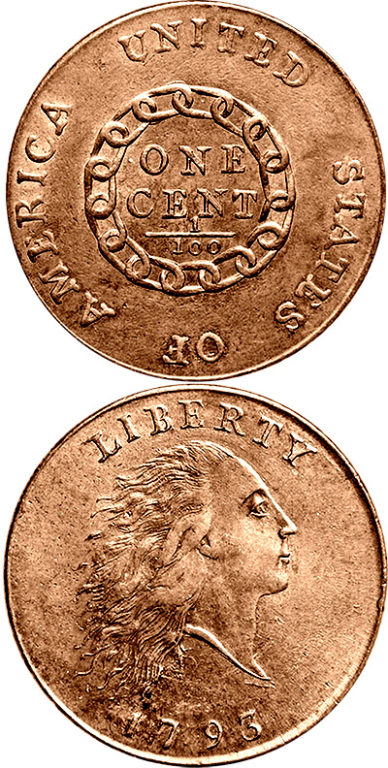 1793 Cent: In March of 1793, the Mint made the first circulating coins: 11,178 copper cents. Silver coin production started the following year and gold coinage began in 1795.