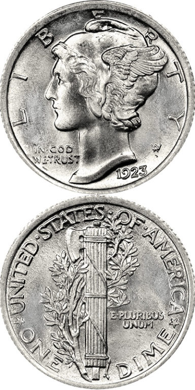 Mercury Dime: The coin's proper name is the Winged Liberty Dime, but it gained the common name of Mercury Dime because of the design's likeness to the Roman god Mercury.