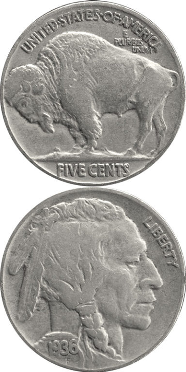 Buffalo Nickel: As part of an early 20th century effort to beautify U.S. coinage, James Earle Fraser's nickel design features a Native American chief and an American bison (also known as a buffalo).