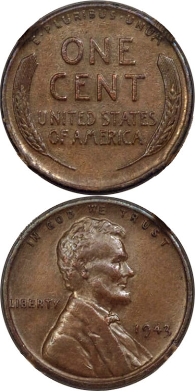1943 Copper Penny: With only 40 known to exist, the 1943 copper penny is a rare coin. In that year, the Mint intended to make all pennies of zinc-coated steel. It's thought that these copper pennies were struck by accident.