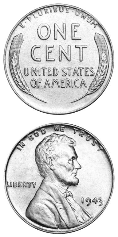 1943 Steel Penny: In 1943, copper was needed for war materials, so pennies were made out of zinc-coated steel. This made it hard to tell a dime from a penny. The 1943 Steel Penny was only made for one year.