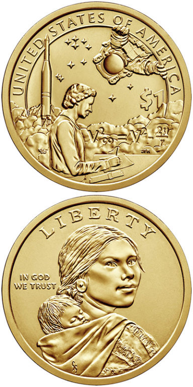 2019 Native American $1: The $1 coin features Mary Golda Ross (Cherokee Nation), the first female Native American engineer, and John Herrington (Chickasaw Nation), the first Native American to walk in space.
