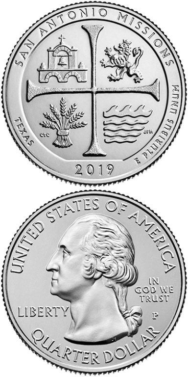 2019 San Antonio Missions National Historical Park Quarter: In 2010, the Mint started issuing quarters featuring a national site in each state, territory, and DC. The newest 2019 quarter features the San Antonio Missions in Texas.