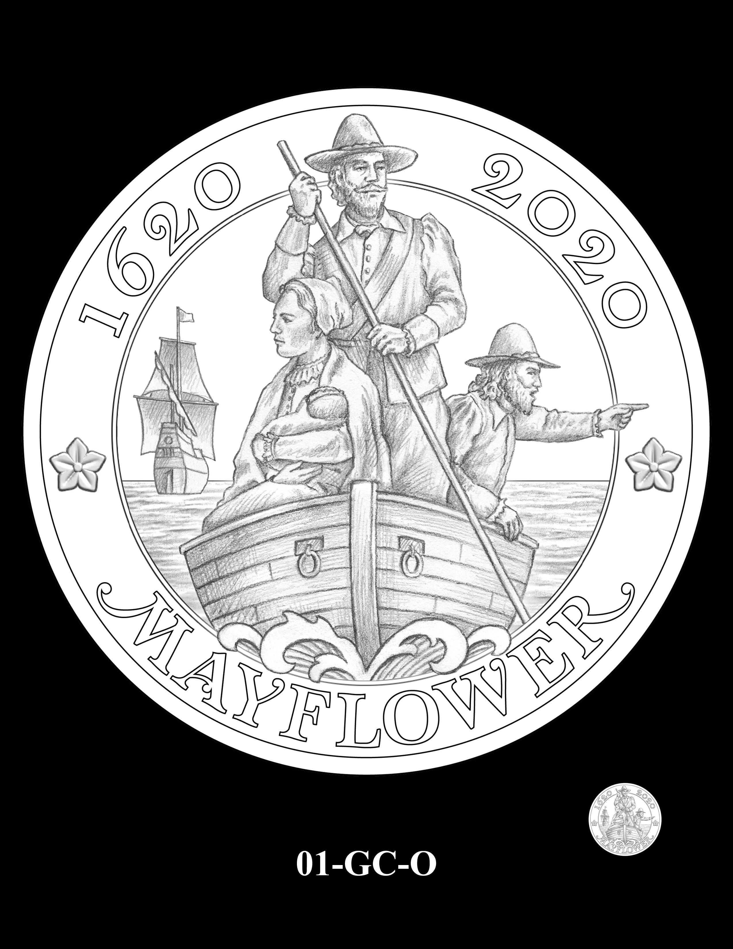 01-GC-O - 2020 Mayflower 400th Anniversary 24K Gold Coin & Silver Medal Program